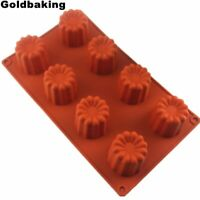 Canele Moldings 8 Cups Large Silicon Fluted Baking Tin Red Tray