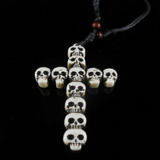 Toten Kopf Kreuz Anhänger Biker Leder Halskette Qualität Schmuck Mode Geschenk.