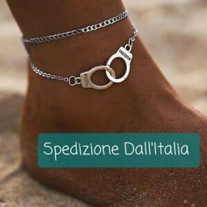 Cavigliera bracciale doppia catenina manette Donna Sexy freedom Estate 2021