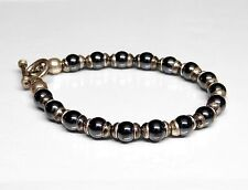 "Retro Sterling Silver 6.5mm Hematite Bead Toggle Bracelet 7.5"""
