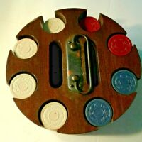Vintage Poker Chip Caddy with Cover 150+ CLAY Chips ?? Holds 2 Decks Cards