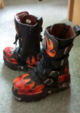 Women's New Rock Reactor Boots Black Orange Flames EU 36 UK 3 vintage unworn