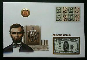 [SJ] USA Abraham Lincoln 1995 President FDC 美国总统林肯 (phonecard coin cover) *rare