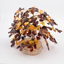 Natural Baltic Amber Souvenir Tree With 288 Leaves