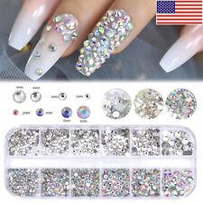 2400Pcs Nail Art Acrylic Rhinestone Glitter Diamond Gems 3D Tips DIY Decoration