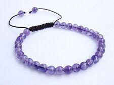 Natural Amethyst Gemstone Men's beaded bracelet February Birthstone 6mm beads