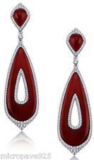 Designer Red Onyx Dangle Earrings Pave Setting White Round Stones Silver 925