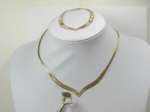 2903 TRI COLOR SET Necklace 17in, Bracelet 8in, & Ring sz 6 3/4 Matching Design