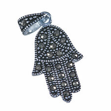 Sterling Silver 925 Lucky Hamsa Pendant Amulet Judaica Israel With Black Zircons
