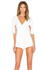 NWT $188 NBD Revolve Close Enough White Romper Flutter Ruffle Sleeves Sz Small
