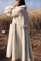 Real Vintage Mink Fur Long Coat Womens Oversized Thick Winter Warm Jacket Parkas