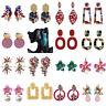 New Women Rinestone Flower Tassels Crystal Ear Stud Earrings Dangle Drop Jewelry