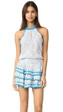 POUPETTE ST BARTH EVA MINI DRESS, AQUA ARROW PRINT, NWT $325, M