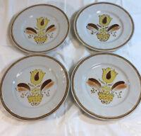 Handpainted Americana Hearthside Stoneware Bountiful Salad Plates lot of 4
