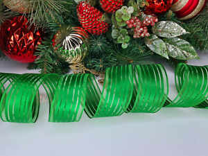 CHRISTMAS WIRED EDGE RIBBON 1.5 IN WIDE GREEN TREE WRAP GIFT WRAPPING BULK