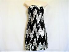 """BLACK AND SILVER SEQUIN STRAPLESS DRESS """"SUPR'E"""" SZ 6 TO 8 AUZ """"NWT"""" RRP $45 C50"""