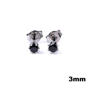 Pair Earring Man Teenager Steel Round Cz Zircon Diams Black Little 3mm K