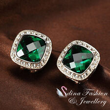 18K Rose Gold GP Made With Swarovski Crystal Large Emerald French Clip Earrings