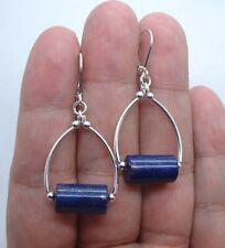Smooth Blue Lapis Lazuli Sterling Silver Hoop Earrings  A0105