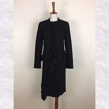 J. Crew Black 2PC Going Out Blazer Jacket & Crepe Ruffle Skirt Suit Set Size 4