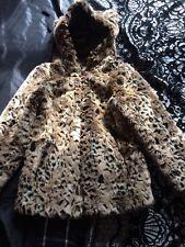 Girls Faux Fur Leopard Print Coat Age 10-11years