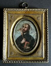 Early 19th Century Miniature Portrait of St Anthony of Padua - Oil on Copper