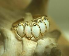 Solid 14k Yellow Gold 4X8mm Marquise Natural Australian White Opal Ring 9.0 #1