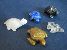 Lot (5) Carved Turtle Tortoise Miniature Figurines Tiger's Eye, Black Onyx, +++