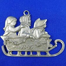 Vintage 1986 Seagull Pewter Christmas Annual Ornament Children in Sled
