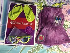 American Girl Lea's Beach Dress Set Outfit + Sandals Sunglasses & Butterfly Clip