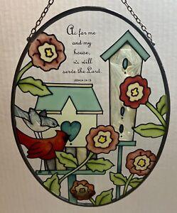 Handpainted Joan Baker Designs Stained Glass Suncatcher Bible Verse Bird Flower