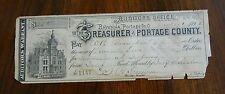 1892 Auditors Warrant Ravenna Portage County Ohio Receipt