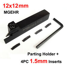 12mm Parting Off Slotting Lathe Tool Holder MGEHR 1212 Grooving + 4PC Inserts
