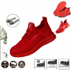Red Safety Trainers Work Boots Shoes Steel Toe Cap Lightweight Men Women Hiking