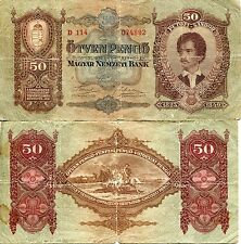 Banknote 1932 Kingdom Hungary Hungarian 50 Otven Pengo Horthy Petofi