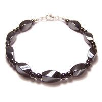 Sterling silver magnetic Hematite bracelet Unisex Twist design grey gemstone gem