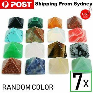 7Pcs Natural Chakra Pyramid Quartz Stone Set Reiki Generator Healing Gemstones