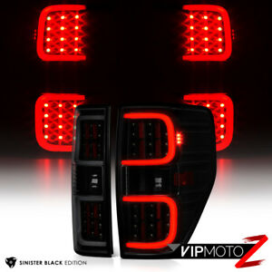 """[DARKEST SMOKE] LED Tube Tail Lights Lamps """"TRoN StyLE"""" For 2009-2014 Ford F150"""