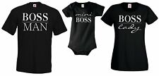 MINI BOSS / MAN / LADY Partner SHIRT STRAMPLER Familie Baby Kinder T-Shirt BFF