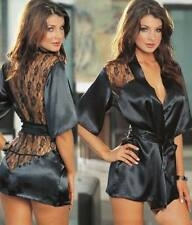 Women Sexy/Sissy Black Lace Lingerie Babydoll Silk Nightwear Coat Underwear Gift
