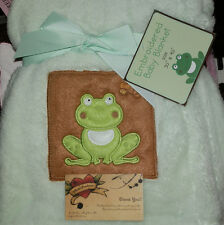 BLANKET HAPPY FROG GREEN BROWN SOFT PLUSH SMILING NEW S L BABY BOY EMBROIDERED