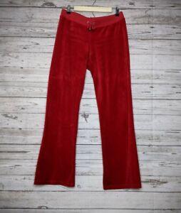 Juicy Couture Black Label Velour Tracksuit Pants Cherry Red Women's M