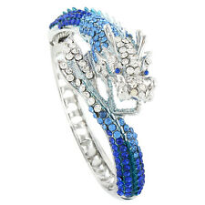 Dragon Animal Loong Bracelet Bangle Cuff Sapphire Blue Austrian Crystal Gift