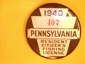 1940  PENNSYLVANIA  FISHING LICENSE VINTAGE