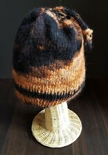 Handmade Brown and Black Wool and Mohair Beanie