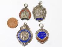 4 x Solid Sterling Silver & Enamel Badges - Fob Medals 39.9grams #F13*