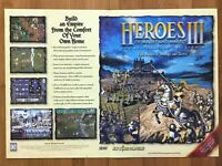 Heroes of Might & Magic III 3 PC 1999 Vintage Fold-out Promo Poster/Ad Art Print