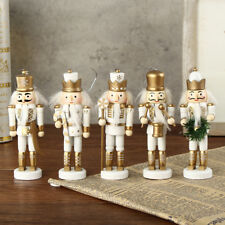 5Pcs Cute Wooden Hanging Nutcracker Soldier Model Figurine Puppet Toy Gifts 12cm