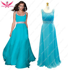 Long Chiffon Bridesmaid Formal Gown Ball Evening Prom Party Dress Size 8 -24 Turquoise 14