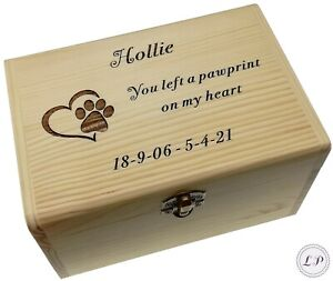 Pet Ashes Casket Memory Memorial Box Personalised Wood Dog Urn Keepsake Gift